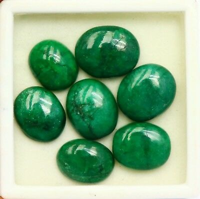 126.55 Ct Certified Natural Cabochon Emerald Superior Oval Shape Gems Lot BT1107