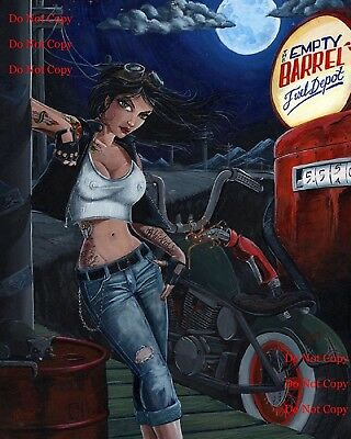 Motorcycle Pinup Girl Empty Barrel Man Cave DECOR Sign Bar 8X10 Glossy Photo Pic
