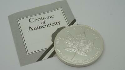 1994 Canada 5 Dollar Fine Silver 1oz Argent Pure 999 Coin-Maple Leaf & CoA