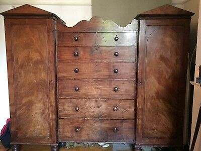 Antique mahagony triple wardrobe