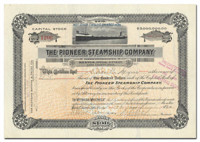 Pioneer Steamship Company Stock Certificate Signed by Charles Hutchinson