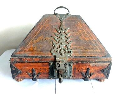 Antique Kerala Traditional Treasure Jewelry Box Wooden Dowry box Brass Trinket