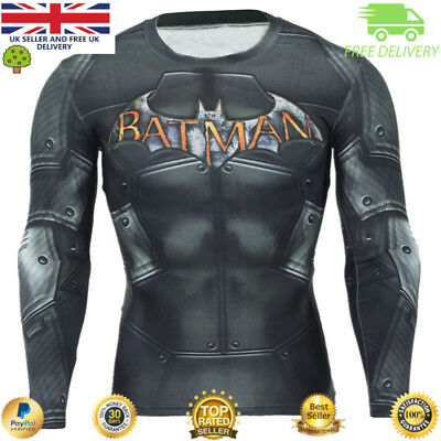 Mens compression top gym superhero crossfit marvel muscle Batman high quality
