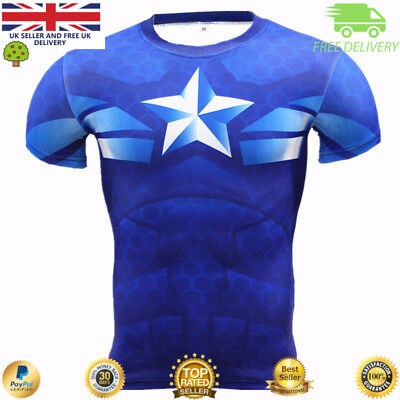 Captain America compression top gym superhero cross fit marvel muscle MMA