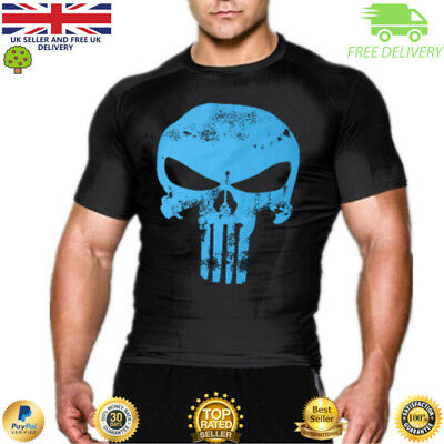 Punisher compression t shirt top gym superhero cross fit marvel muscle MMA
