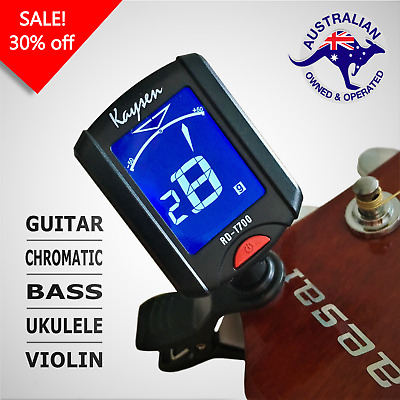 Kaysen Clip-on Electric Tuner - Guitar, Bass, Violin and Ukulele, LCD Screen