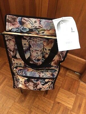 Shopping Tapestry Cats Tote  Bag Wheels Collapsible