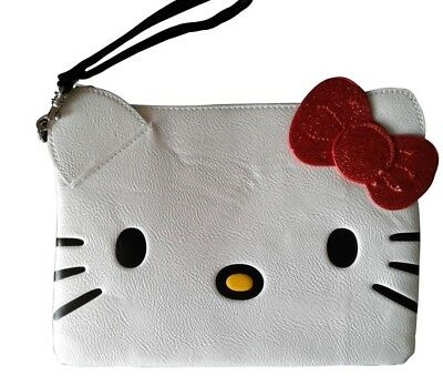 Loungefly Hello Kitty Wristlet Pouch White & Red Glitter 3-D BOW NEW Free Ship
