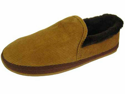 Men's Boys Coolers Cord Full Back Slippers Faux Fur Lining & Collar Sizes   7-12