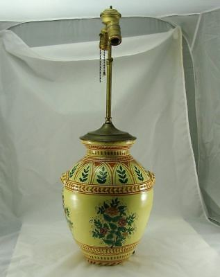 Rare Antique Signed Deruta Italian Hand Painted Pottery Lamp MINT