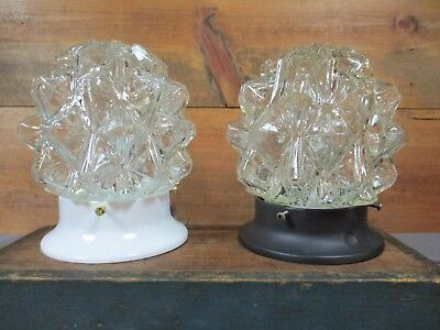 Nos Vintage Art Deco Starburst Sunburst Shade Globe Glass Fixture Light Lamp