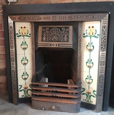 Victorian Style Cast Iron Tiled Insert Fireplace with grate and cheeks