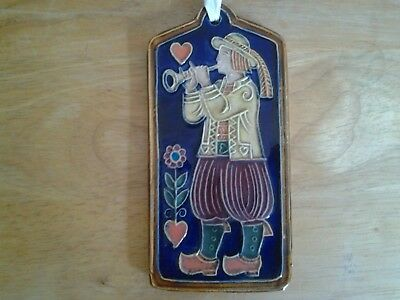 Vintage Dutch Folk Art Ceramic Wall Plaque - signed
