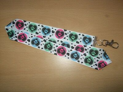 Handmade Dog Paw Prints & Hearts Lanyard Whistle Training ID Pink Blue Green