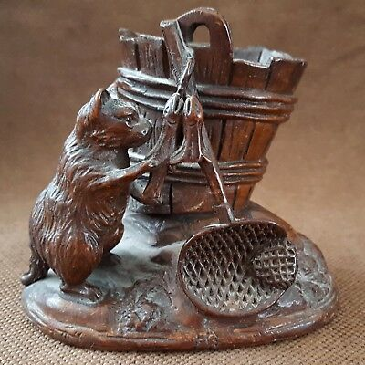 Unusual 19Th Century Black Forest Wood Carving Of A Cat Beside A Bucket