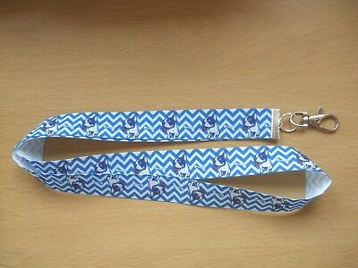 Handmade Boston Terrier Dog Lanyard Whistle Walking Training ID Key Blue White
