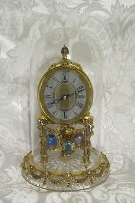 A House Of Faberge Egg Clock Under Glass Dome Perfect And Good  Working Order