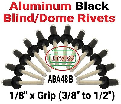 "(100) Black All Aluminum  Rivets - (4-8) 1/8"" x 5/8""    (3/8"" - 1/2"" Grip)"
