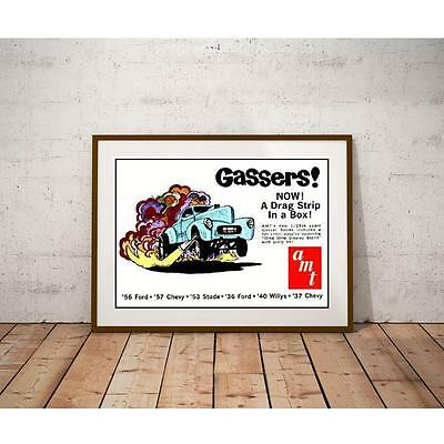 AMT Gassers Series Model Car Kit Poster - Wild Willys Wheelstand with Mod Flames