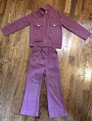 (A60) Vtg 70s Red Boys Zip Up Jacket Pants Suit Set