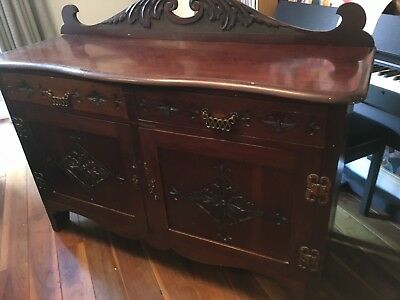 Angel winged-back solid darkwood Victorian sideboard