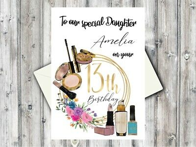 Personalised 13th Birthday Card Make Up Lover DaughterGranddaughter Niece