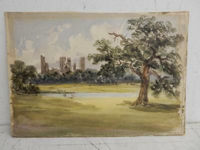 really old PAINTING watercolour landscape castle