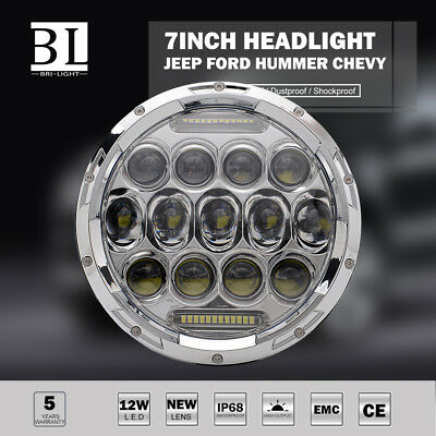 "7"" Round 75W LED Headlight Replacement DOT DRL Low and High Beam Chrome 1 Piece"