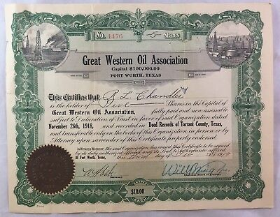 Antique Texas Oil Boom Stock Certificate / Great Western Oil Fort Worth 1919