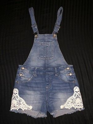 JUSTICE BLUE Jean Denim SHORTS Jumper Embroided lace Overalls  SIZE 14