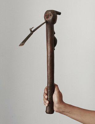 Old ceremonial axe with carved figures , Luba or Lele, Congo, superb piece