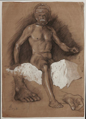 Dated 1925 Art Deco, male nude study, by Heinz Wagner, signed, estate stamp