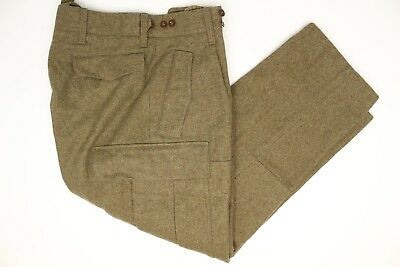 VTG 1960s German Military Mens Cargo Pants 32x29 Olive Green Heavy Thick Outdoor