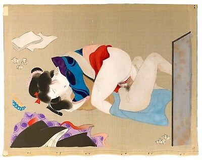 Japanese Shunga Erotic Painting on Silk Original