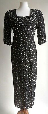 Vtg 80s 40s Rayon Floral Day Dress Black White Pencil Floral Modest 6 8 USA