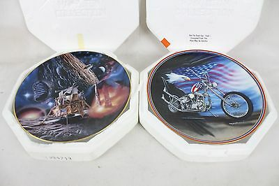 2 Vintage Hamilton Collectors Plate Lot Limited Edition Moon Landing Easy Riding