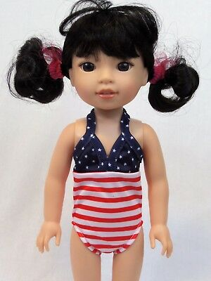 "Stars And Stripes Swimsuit Fits Wellie Wishers 14.5"" American Girl Clothes"