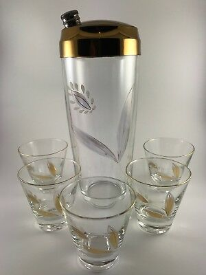 Vintage Deco Etched Hand Painted Floral Glass Cocktail Shaker and 5 Shot Glasses