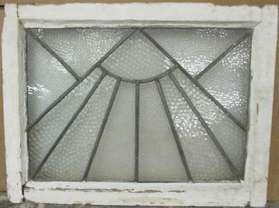 "MID SIZED OLD ENGLISH LEADED STAINED GLASS WINDOW Simple Sun Burst 23.5"" x 18"""