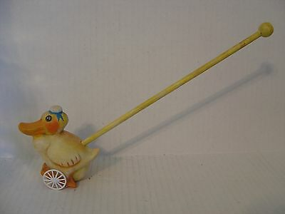 Silver Willow Toy Ceramic Duck On A Stick With Wheels