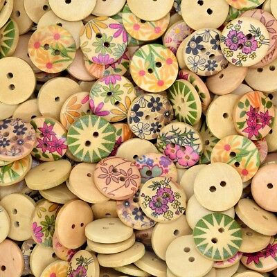 50PCS Mixed Round Wooden Flowers Design Button Craft Decor Sewing DIY 18MM