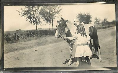 Little Girl w/Ringlets And Tobiano/Pinto Pony~Real Photo Postcard c1912