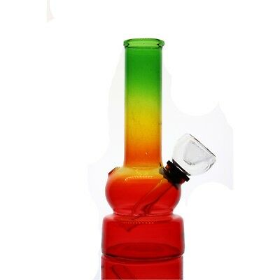 "Collectible Tobacco Glass Water Pipe Bong Bubbler Hookah Rig 5"" w Rasta Color"