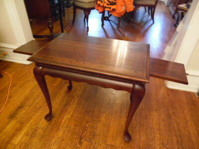 Vintage Curved Legs Table Solid Carved Wood Mahogany Side/End W/ Pull Out  Tray