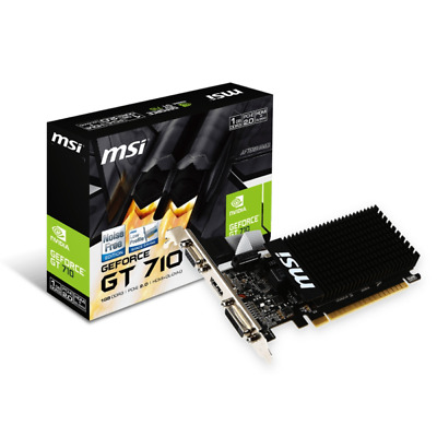 MSI GeForce GT 710 1GB DDR3 Grafikkarte DVI/VGA/HDMI Low Profile passiv