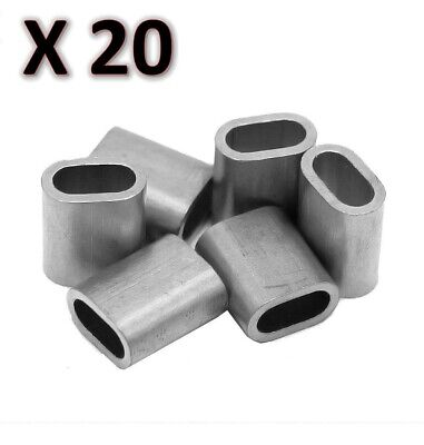 20 x M6 Aluminium Swage Ferrule for 6mm Wire Cable Rope Crimp Crimping
