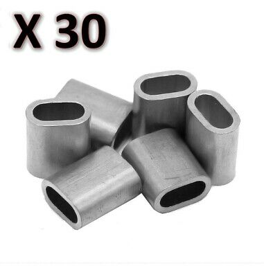30 x M6 Aluminium Swage Ferrule for 6mm Wire Cable Rope Crimp Crimping