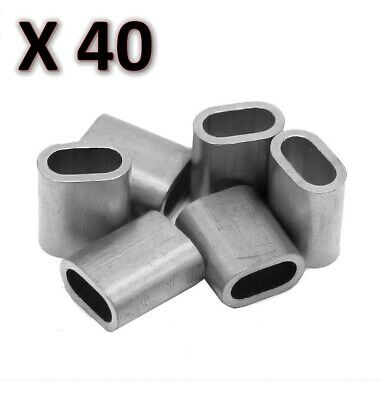 40 x M6 Aluminium Swage Ferrule for 6mm Wire Cable Rope Crimp Crimping