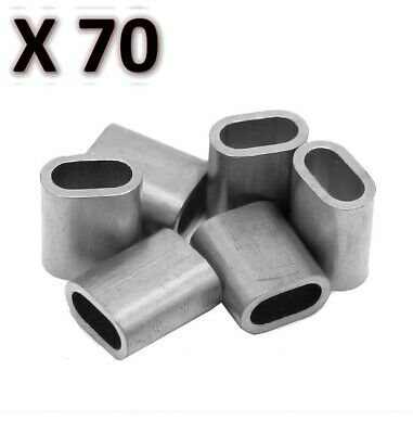 70 x M6 Aluminium Swage Ferrule for 6mm Wire Cable Rope Crimp Crimping
