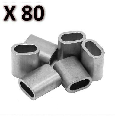 80 x M6 Aluminium Swage Ferrule for 6mm Wire Cable Rope Crimp Crimping